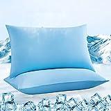 Luxear kühlender Kissenbezug 2er Set, Kopfkissenbezug elastisch mit Arc-Chill Kühlfasern...